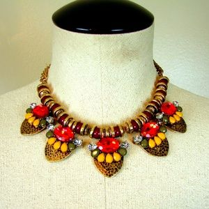 Clunky Boho statement necklace earring set NEW